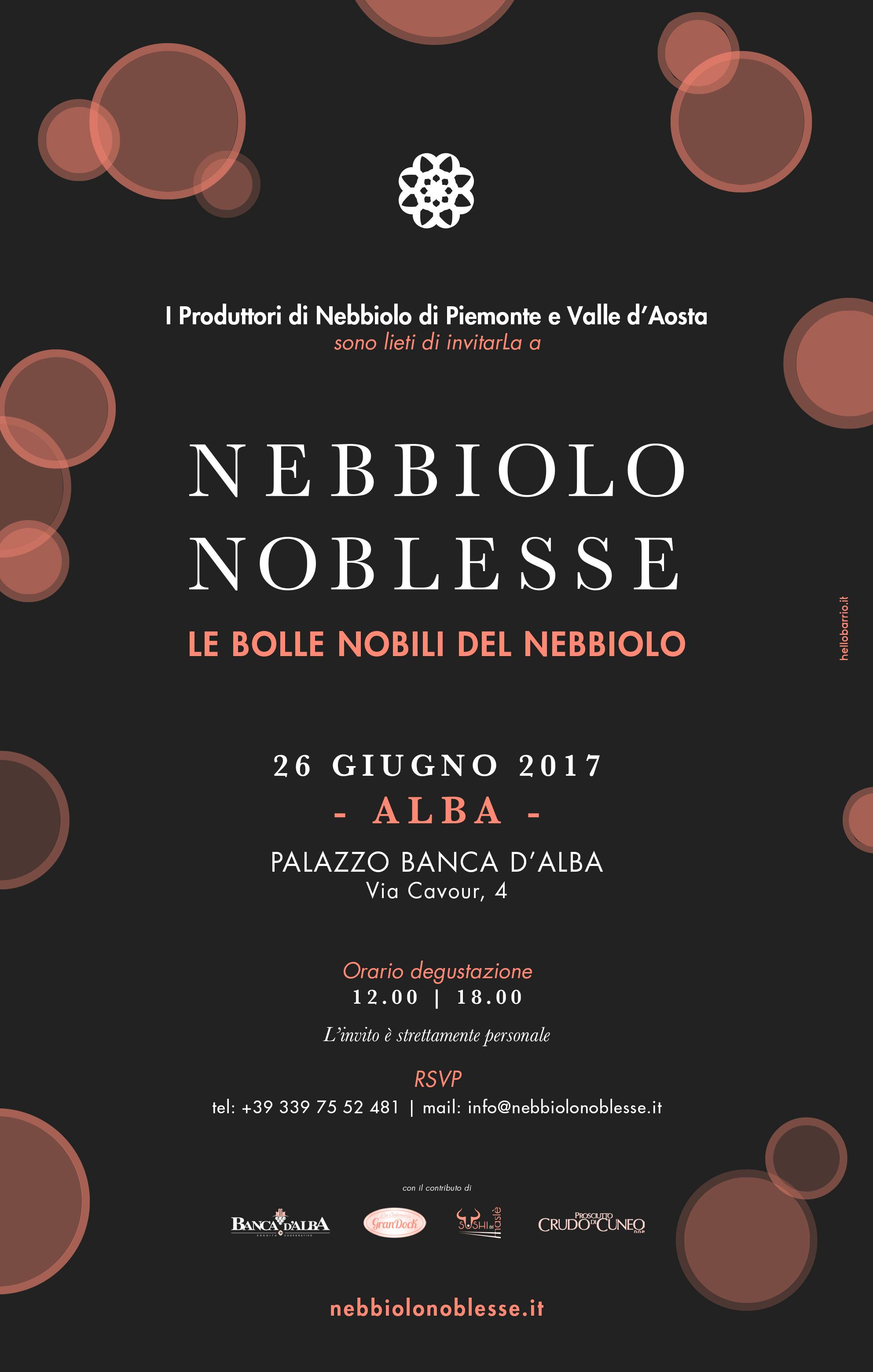 NEBBIOLO NOBLESSE – 26 GIUGNO 2017 – ALBA