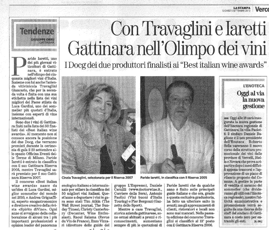 Gattinara nell'Olimpo dei vini